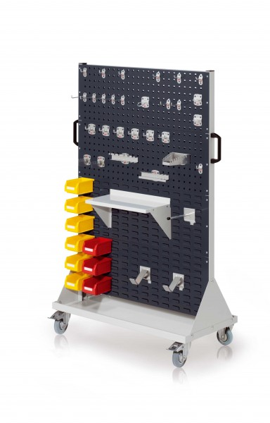 RasterMobil Gr. 4 RAL 7035/7016, H1580 x B1000 x T500 mm. 1 x Werkzeughaltersort. 28-teilig, 1 x Stahlboden 450 mm, 1 x Universalhalter, 2 x Dornträger, 9 x Lagersichtkästen Größe 7.