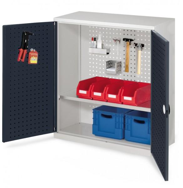 ®RasterPlan Werkzeugschrank Mod. 2 410, H1000 x B1000 x T410 RAL 7035/7016. Türinnenseite: ®RasterPlan Lochplatte ,1 Fachboden.
