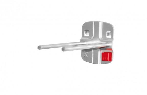 ®RasterPlan/ABAX® Doppelter Werkzeughalter, gerader Dorn Länge 100 mm Alufarben
