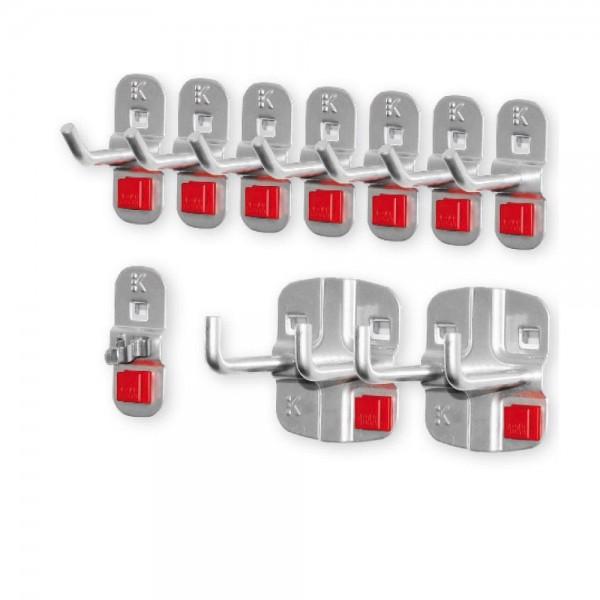 ®RasterPlan/ABAX Werkzeughalter-Sortiment, 10-teilig alufarben. 7 Werkzeughalter mit schrägem Ende, 2 Doppelte Werkzeughalter, 1 Werkzeugklemme.