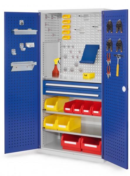 RasterPlan Schubladenschrank, Modell 11, RAL 7035 /5010. Türinnenseite: Lochplatten, 1950 x 1000 x 600 mm,, 2 Schubladen H 100 mm, 3 Fachböden verzinkt.