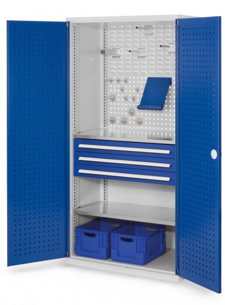 RasterPlan Schubladenschrank, Modell 12, RAL 7035/5010. Türinnenseite: Lochplatten, 1950 x 1000 x 600 mm, 3 Schubladen H 100 mm, 2 Fachböden verzinkt.