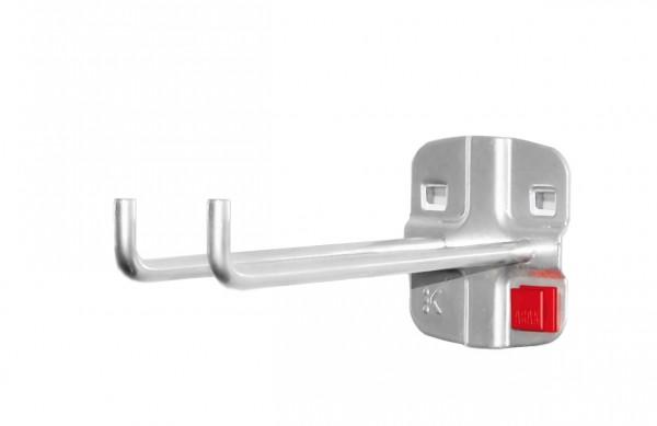 RasterPlan/ABAX Doppelter Werkzeughalter, L 150 mm, senkrechtes Hakenende alufarben.