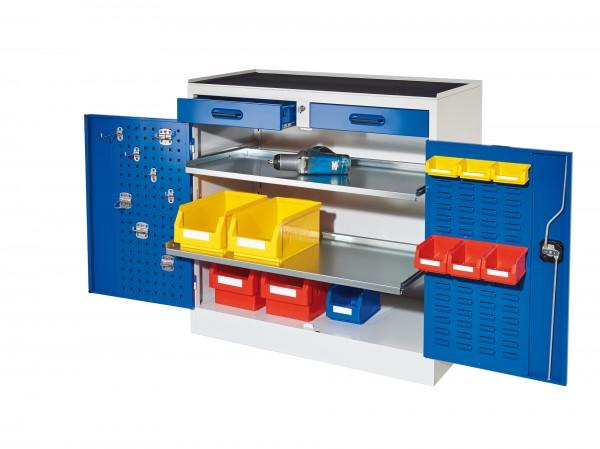 RasterPlan Arbeitsplatzschrank Modell 4S, H 1000 x B 1000 x T 500 mm. Je 1 Innentür RasterPlan Lochplatten, RasterPlan Schlitzplatten, RAL 7035/5010, 2 Schubladen, 2 ausziehbare Böden.