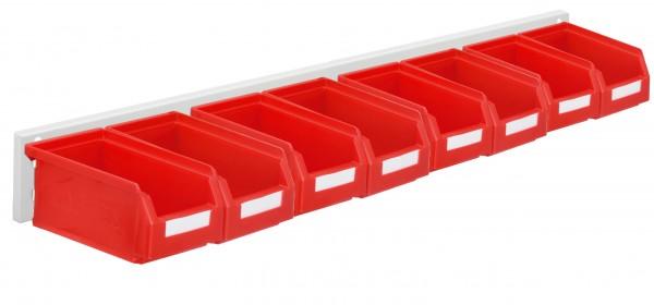 ®RasterPlan Wandschiene Schlitzplatte Set 5, L 920 mm, x H 100 mm, RAL 7035. 8 x Lagersichtkästen Größe 7.