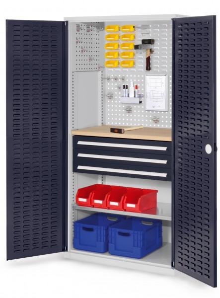 ®RasterPlan Schubladenschrank, Modell 25, RAL 7035/7016. Türinnenseite: Schlitzplatten 1950 x 1000 x 600 mm, mm 3 Schubladen H 100 mm, mm 1 Fachböden verzinkt 1 Werkbankplatte Multiplex.