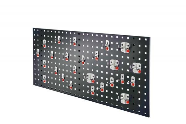®RasterPlan/ ABAX Lochplatten Einsteigerset 8, RAL 7016. 1 x Lochplatte H 450 x B 1000 mm, 1 x Werkzeughaltersortiment 25-teilig.
