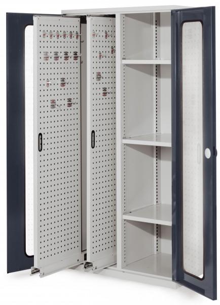 RasterPlan Vertikalschrank Modell 80, 1950 x 1000 x 600 mm, RAL 7035/7016. Sichtfenstertür. 2 Auszüge Lochplatten, 3 Böden