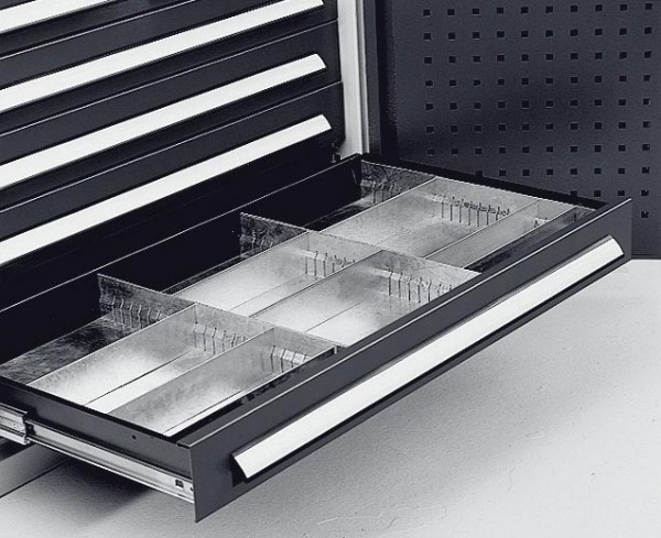 Einteilungsset Schublade für H 100 mm, Breite 1000 mm, verzinkt.