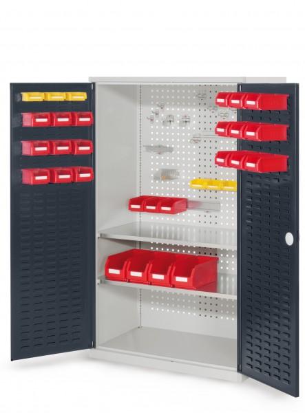 RasterPlan Werkzeugschrank Mod 4 500, H1600 x B1000 x T500 mm, RAL 7035/7016. Türinnenseite: RasterPlan Schlitzplatte, 2 Fachböden.