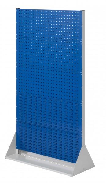 RasterPlan Stellwand Gr.5 doppelseitig, H1790 x B1000 x T430 mm, RAL 7035/5010. 6 Lochplatten, 4 Schlitzplatten.