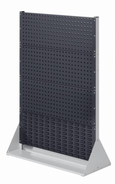 RasterPlan Stellwand Gr.4 doppelseitig, H1450 x B1000 x T430 mm, RAL 7035/7016. 6 Lochplatten, 2 Schlitzplatten.