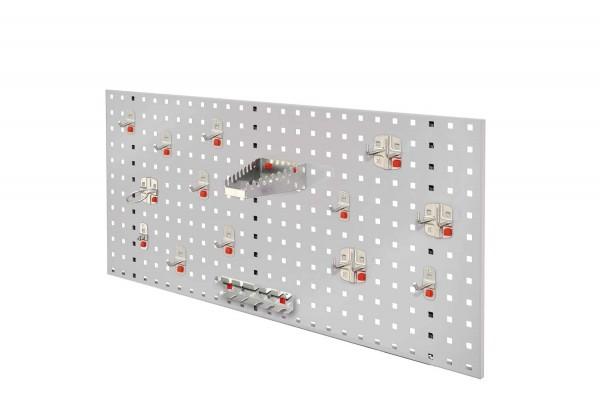 RasterPlan / ABAX Lochplatten Einsteigerset 5, RAL 7035. Bestehend aus 1 Lochplatte 1000 mm, 1 ABAX Werkzeughaltersortiment 15-teilig,