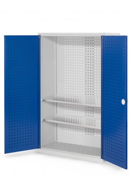 RasterPlan Werkzeugschrank Mod. 4 410, H1600 x B1000 x T410 mm, RAL 7035/5010. Türinnenseite: RasterPlan Lochplatte, 2 Fachboden.