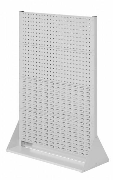 RasterPlan Stellwand Gr.4 doppelseitig, H1450 x B1000 x T430 mm, RAL 7035. 4 Lochplatten, 4 Schlitzplatten.