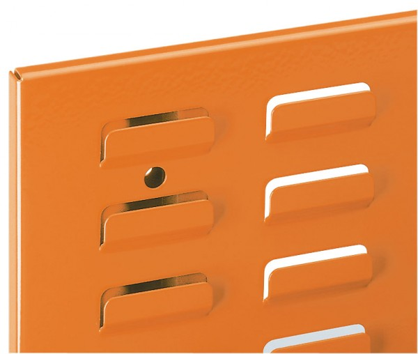 ®RasterPlan Schlitzplatte B 1000 mm x H 450 mm Breitformat RAL 2009 - Verkehrsorange Universell kombinier- und einsetzbar. Kompatibel mit ®RasterPlan Lochplatten.
