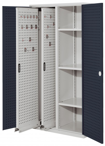 RasterPlan Vertikalschrank Modell 80, 1950 x 1000 x 600 mm, RAL 7035/7016. Türinnenseite: RasterPlan Lochplatten, 2 Auzüge Lochplatten, 3 Böden