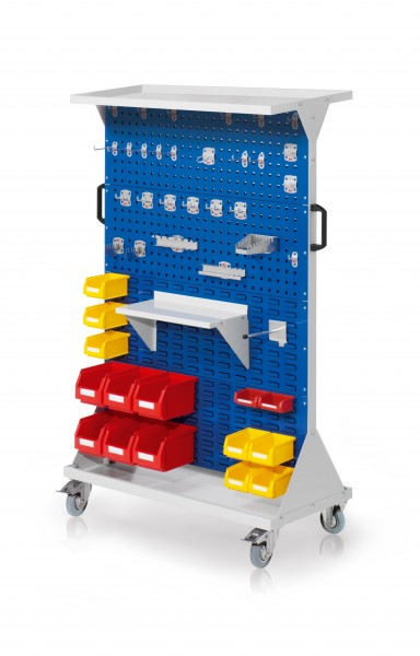 RasterMobil Gr. 4 RAL 5010, H1620 x B1000 x T500 mm. 1 x Auflageboden aus Stahlblech, 1 x Werkzeughaltersort. 28-teilig, 1 x Stahlboden 450 mm, 1 x Universalhalter, 6 x Lsk. Gr. 6, 7 x Lsk. Gr. 7, 2 x Lsk. Gr. 8.