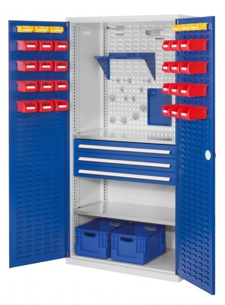 RasterPlan Schubladenschrank, Modell 22, RAL 7035/5010. Türinnenseite: Schlitzplatten 1950 x 1000 x 600 mm, 3 Schubladen H 100 mm, 2 Fachböden verzinkt.