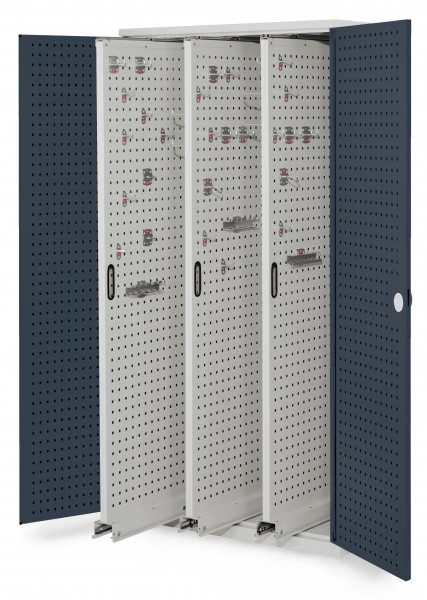 RasterPlan Vertikalschrank Modell 85, 1950 x 1000 x 600 mm, RAL 7035/7016. Türinnenseite: RasterPlan Lochplatten. 3 Auszüge Lochplatten.