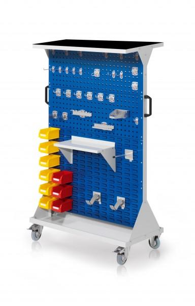 RasterMobil Gr. 4 RAL 7035/5010, H1620 x B1000 x T500 mm. 1 x Auflageboden aus Stahlblech inkl. Riffelgummimatte, 1 x Werkzeughaltersort. 28-teilig, 1 x Stahlboden 450 mm, 1 x Universalhalter, 2 x Dornträger, 9 x Lsk. Gr. 7.