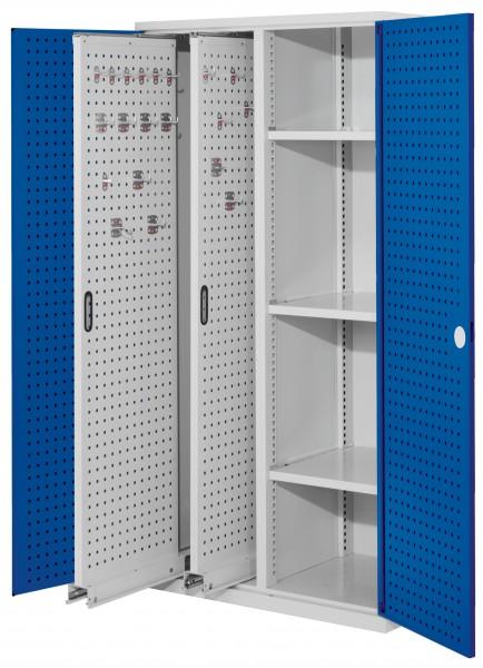 RasterPlan Vertikalschrank Modell 80, 1950 x 1000 x 600 mm, RAL 7035/5010. Türinnenseite: RasterPlan Lochplatten, 2 Auzüge Lochplatten, 3 Böden