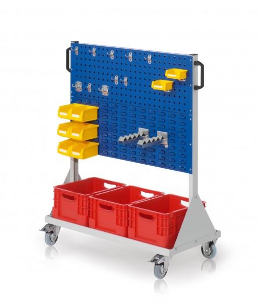RasterMobil Gr. 3 RAL 7035/5010, H1230 x B1000 x T500 mm. 1 x Werkzeughaltersortiment 10-teilig, 2 x Lagersichtkastenhalter, 2 x Wellenträger, 6 x Lsk. Gr. 7, 2 x Lsk. Gr. 8, 3 x Transportbehälter 400 x 300 x H 220 mm.