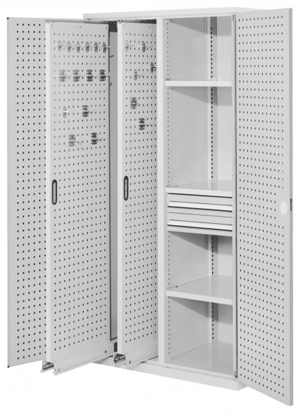 RasterPlan Vertikalschrank Modell 81, 1950 x 1000 x 600 mm, RAL 7035. Türinnenseite: RasterPlan Lochplatten, 2 Auszüge Lochplatten, 3 Fachböden, 2 Schubladen 100 mm.