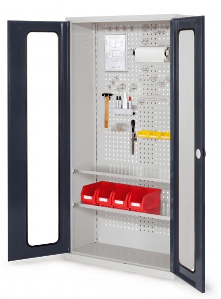 RasterPlan Werkzeugschrank Mod 5 410, H1950 x B1000 x T410 mm, RAL 7035/7016. Sichtfenstertüren, 2 Fachböden.