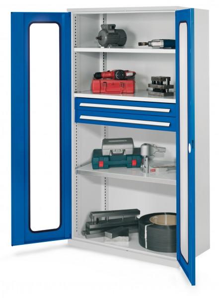 Schwerlastschrank ohne Mitteltrennwand, 1950 x 1000 x 600 mm, Mod 45, RAL 7035/5010. Sichtfenstertüren, 3 Fachböden verzinkt, 2 Schubladen H 100 mm