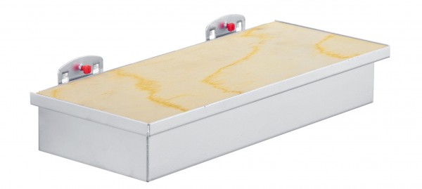 RasterPlan Werkzeugaufnahmebox alufarben, mit Holzplatte.