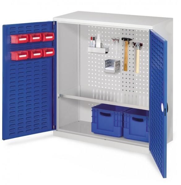 ®RasterPlan Werkzeugschrank Mod. 2 410, H1000 x B1000 x T410 RAL 7035/5010. Türinnenseite: ®RasterPlan Schlitzplatte ,1 Fachboden.