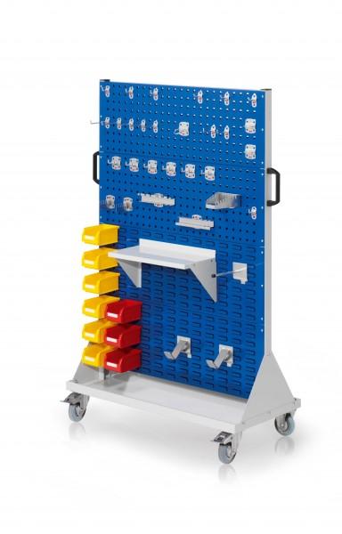 RasterMobil Gr. 4 RAL 7035/5010, H1580 x B1000 x T500 mm. 1 x Werkzeughaltersort. 28-teilig, 1 x Stahlboden 450 mm, 1 x Universalhalter, 2 x Dornträger, 9 x Lsk. Gr. 7.