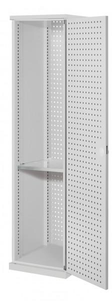 ®RasterPlan Schubladenschrank schmal Mod 2, 1950 x 600 x 600 mm, 7035, Lochplattentür. 1 Fachboden verzinkt.