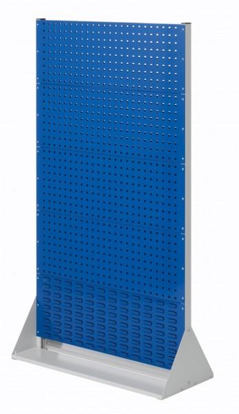RasterPlan Stellwand Gr.5 doppelseitig, H1790 x B1000 x T430 mm, RAL 7035/5010. 8 Lochplatten, 2 Schlitzplatten.