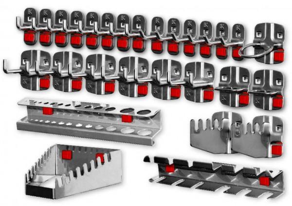 ®RasterPlan / ABAXWerkzeughalter-Sortiment, 28-teilig anthrazitgrau. 6 Werkzeughalter mit schrägem Ende, 8 Werkzeughalter mit senkr. Ende, 6 Doppelte Werkzeughalter, 2 Zangenhalter, 1 Maschinenhalter, 1 Schraubenschlüsselhalter, 1 Schraubendreherhal