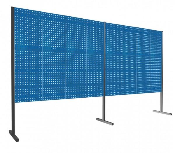 ®RasterPlan Trennwand Doppelfeld 180°, L2000 / 2000 mm, H1500 mm, RAL 5010. Mit 8 ®RasterPlan Lochplatten.