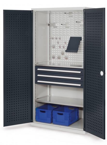 ®RasterPlan Schubladenschrank, Modell 12, RAL 7035/7016. Türinnenseite: Lochplatten, 1950 x 1000 x 600 mm, 3 Schubladen H 100 mm, 2 Fachböden verzinkt.