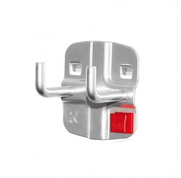 RasterPlan/ABAX Doppelter Werkzeughalter, L 35 mm, senkrechtes Hakenende alufarben.