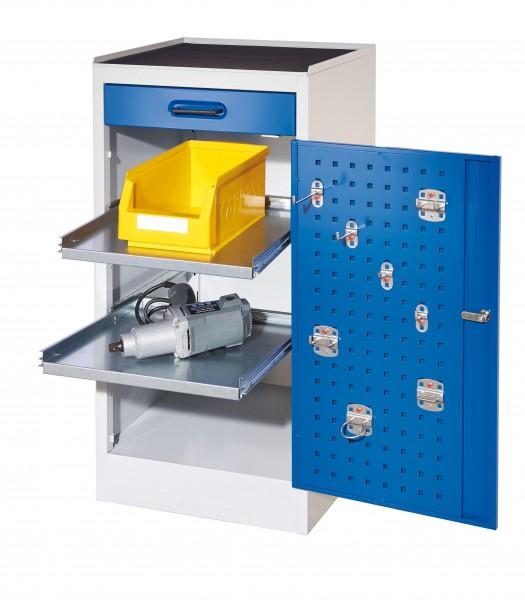 RasterPlan Arbeitsplatzschrank Modell 1S, H 1000 x B 500 x T 500 mm RAL 7035/5010, 1 Schublade, 2 ausziehbare Böden.