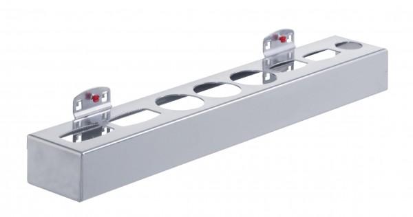 RasterPlan Aufnahmehalter für Dosen und Flaschen für 8 Teile alufarben. B 500 x H50 x T80 mm, für 4 Oval- / Runddosen.