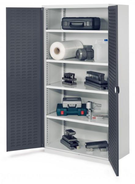 Schwerlastschrank ohne Mitteltrennwand, 1950 x 1000 x 600 mm, Mod 41, RAL 7035/7016. Türinnenseite: ®RasterPlan Schlitzplatten, 4 Fachböden verzinkt.