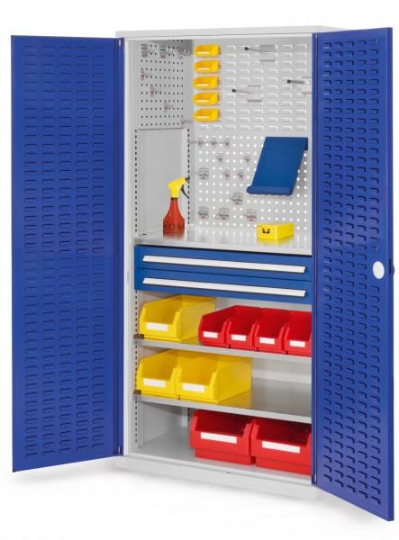 ®RasterPlan Schubladenschrank, Modell 21, RAL 7035/5010. Türinnenseite: Schlitzplatten, 1950 x 1000 x 600 mm, 2 Schubladen H 100 mm, 3 Fachböden verzinkt.