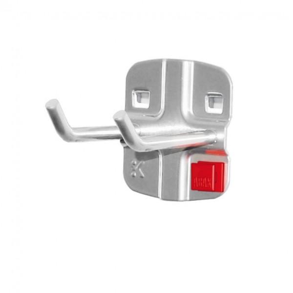 ®RasterPlan/ABAX® Doppelter Werkzeughalter, schräges Hakenende Länge 50 mm Alufarben