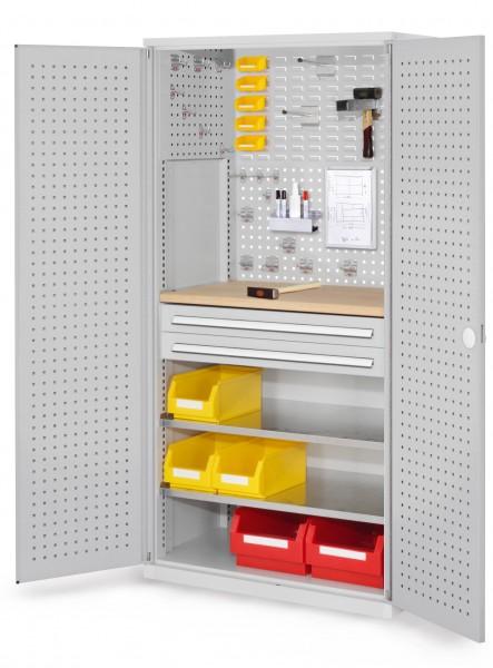 ®RasterPlan Schubladenschrank, Modell 14, RAL 7035. Türinnenseite: Lochplatten, 1950 x 1000 x 600 mm, 2 Schubladen H 100 mm, 2 Fachboden verzinkt, 1 Werkbankplatte Multiplex.