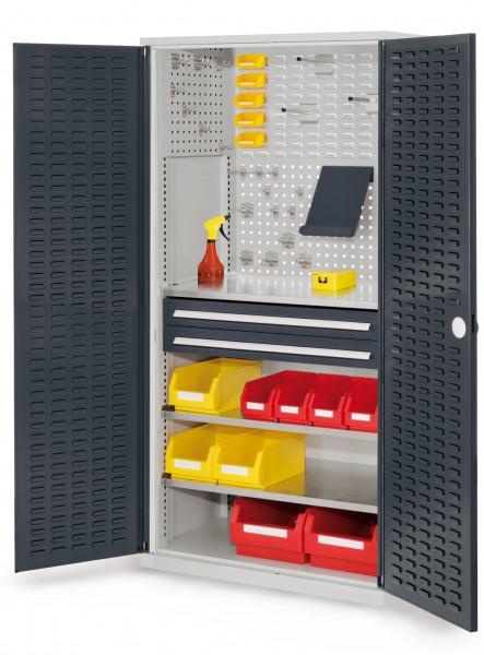 RasterPlan Schubladenschrank, Modell 21, RAL 7035/7016. Türinnenseite: Schlitzplatten, 1950 x 1000 x 600 mm, 2 Schubladen H 100 mm, 3 Fachböden verzinkt.