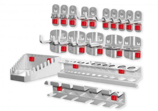 ®RasterPlan/ABAX® Werkzeughalter-Sortiment 18-teilig Alufarben 5 Werkzeughalter, schräges Hakenende, 2 Werkzeughalter, senkrechtes Hakenende, 3 Doppelte Werkzeughalter, senkrechtes Hakenende, 3 Werkzeugklemmen, 2 Zangenhalter, 1 Bohrerhalter, 1 Schra