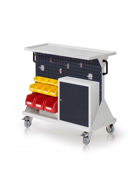 RasterMobil Gr. 2 RAL 7035/7016, H 930 x B 1000 x T 500 mm. 1 x Auflageboden aus Stahlblech, 1 x Werkzeughaltersort. 10-teilig, 1 x Einhängeschrank, 3 x Lsk. Gr. 6, 4 x Lsk. Gr. 7, 4 x Lsk. Gr. 8.