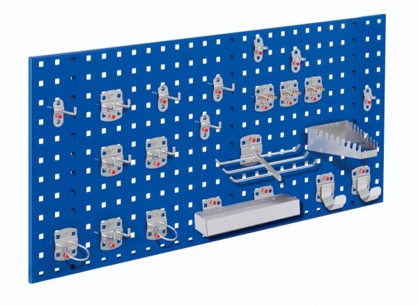®RasterPlan Einsteigerset 7 1 x ®RasterPlan Lochplatte RAL 5010 - Enzianblau Breite 1000 mm x Höhe 450 mm 1 x ®RasterPlan Werkzeughalter-Sortiment 21-teilig