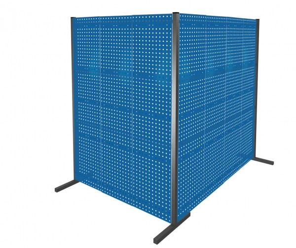 ®RasterPlan Trennwand Doppelfeld 90°, L1500 / 2000 mm, H2000 mm, RAL 5010. Mit 7 ®RasterPlan Lochplatten.
